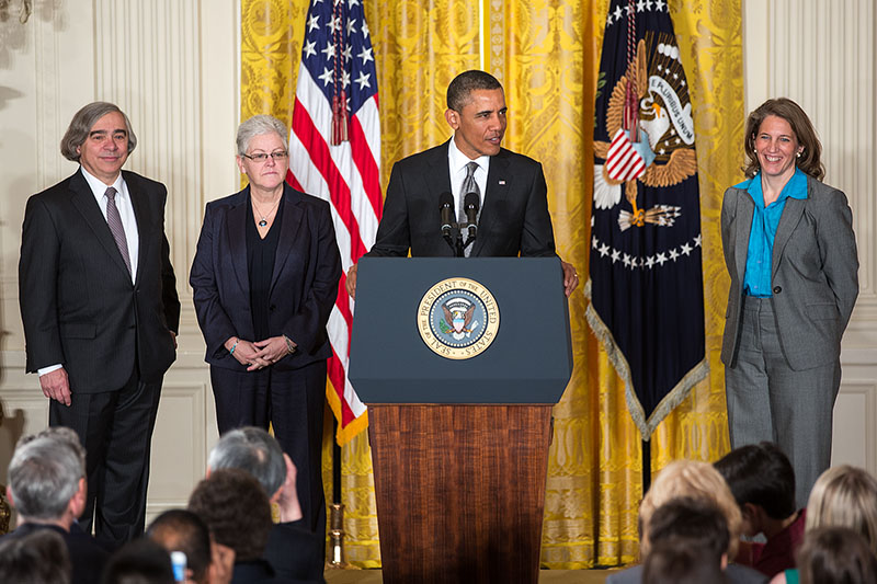 President Barack Obama announces the nominations of Ernest Moniz, Gina McCarthy, and Sylvia Mathews Burwell