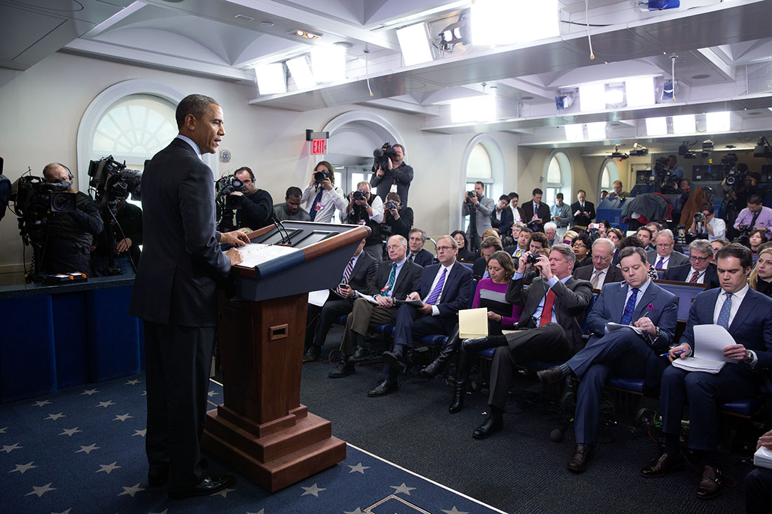 President Barack Obama delivers a statement on Ukraine in the James S. Brady Press Briefing Room of the White House