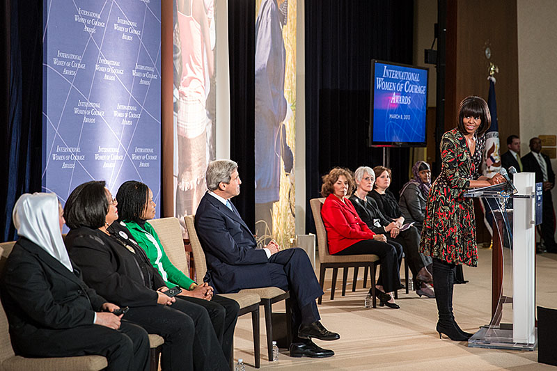 First Lady Michelle Obama and Secretary of State John Kerry honor the recipients of the International Women of Courage Award