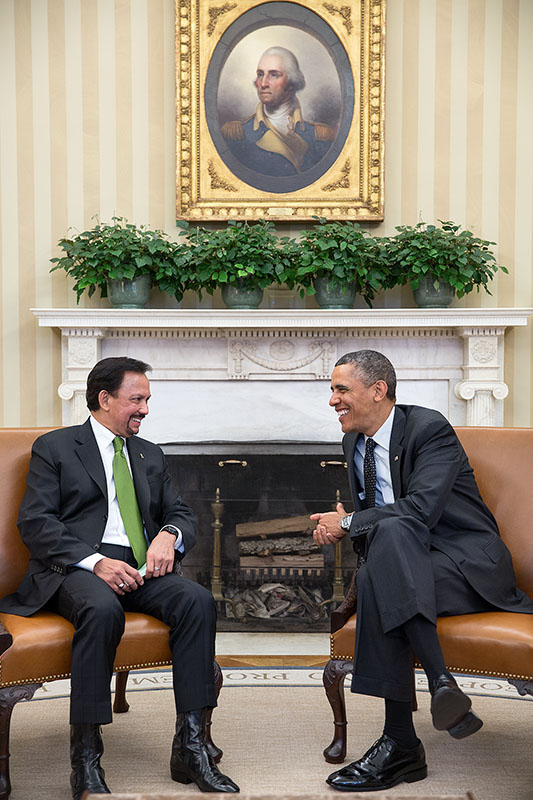 President Obama Meets with Sultan of Brunei in the Oval Office