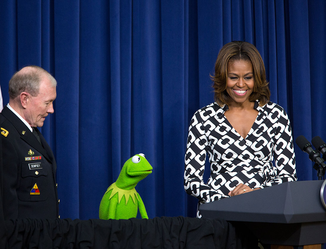 First Lady, General Dempsey, and Kermit the Frog