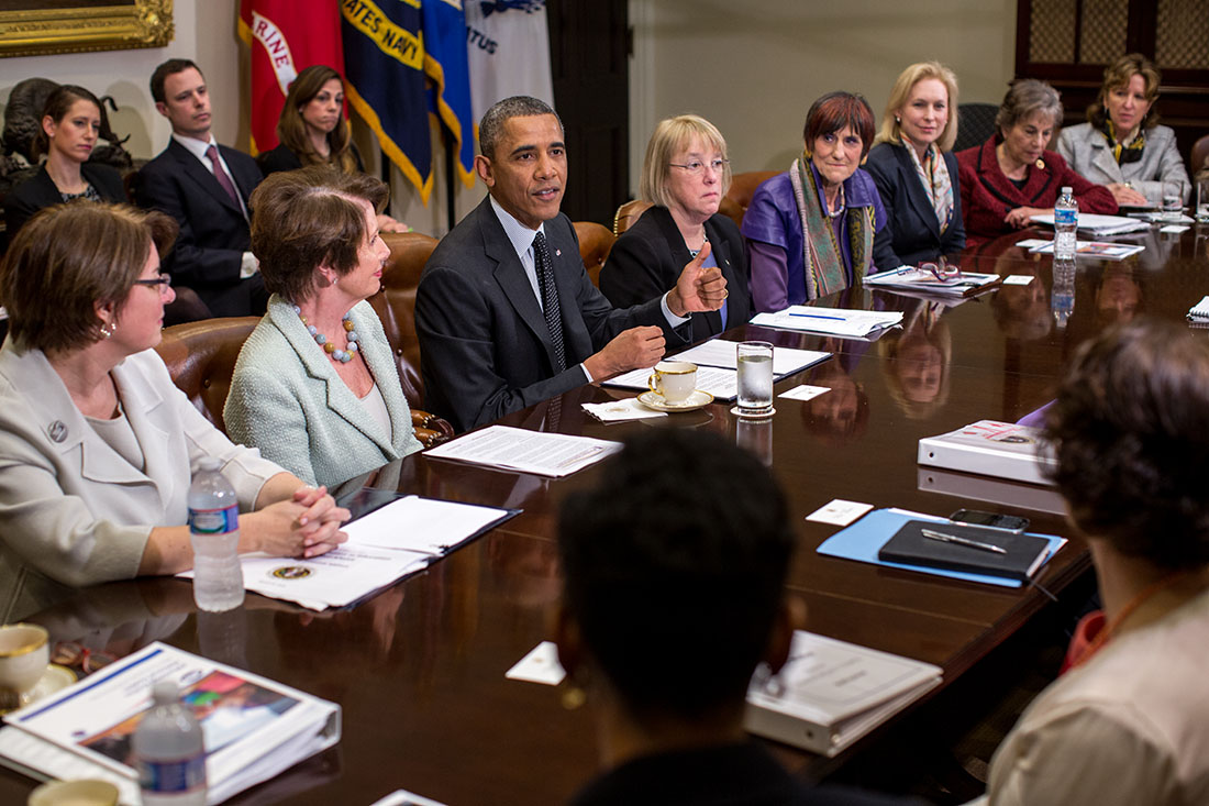 President Barack Obama meets with women Members of Congress in the Roosevelt Room of the White House, March 12, 2014