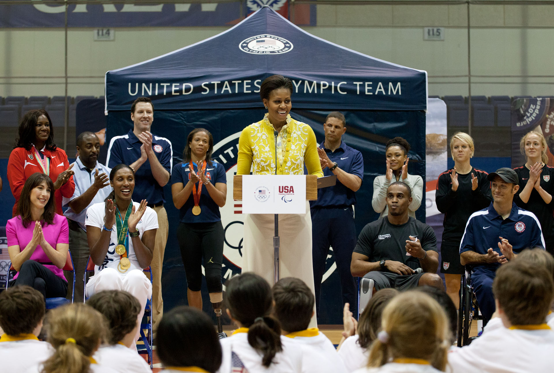 First Lady Michelle Obama delivers remarks during a mini-Olympics event at American University