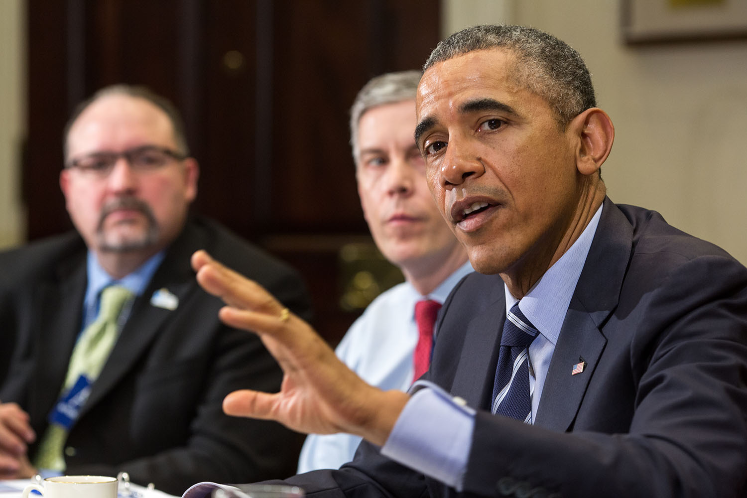 President Barack Obama delivers a statement to the Council of the Great City Schools