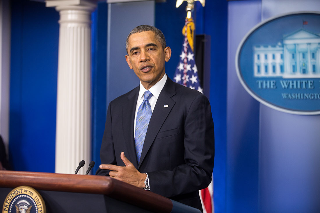 President Barack Obama delivers remarks on the situation in Ukraine, in the James S. Brady Press Briefing Room of the White House