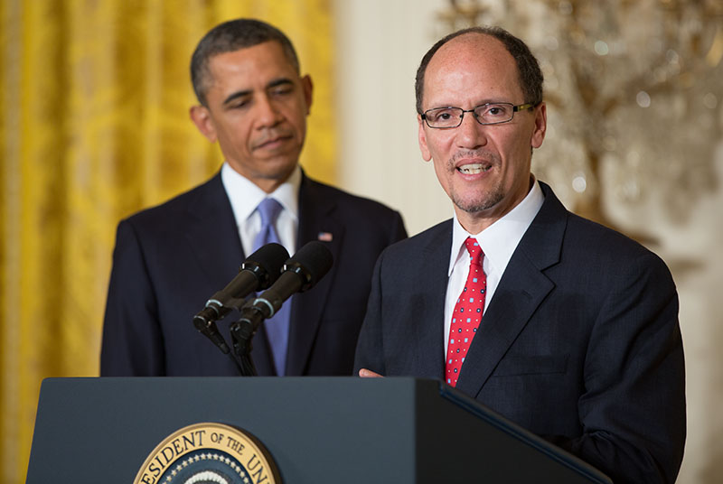 President Barack Obama announces Thomas Perez as his nominee for Labor Secretary, in the East Room of the White House, March 18, 2013.
