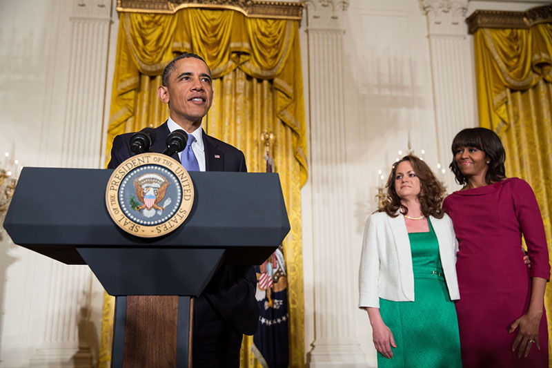 President Barack Obama with First Lady Michelle Obama and Amanda McMillan at the Women's History Month reception, March 18, 2013.