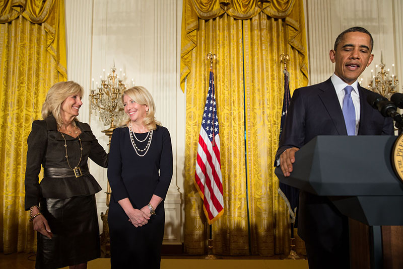 President Obama announces Cathy Russell's nomination as Ambassador at Large for Global Women's Issues, with Dr. Jill Biden in the East Room, March 18, 2013.