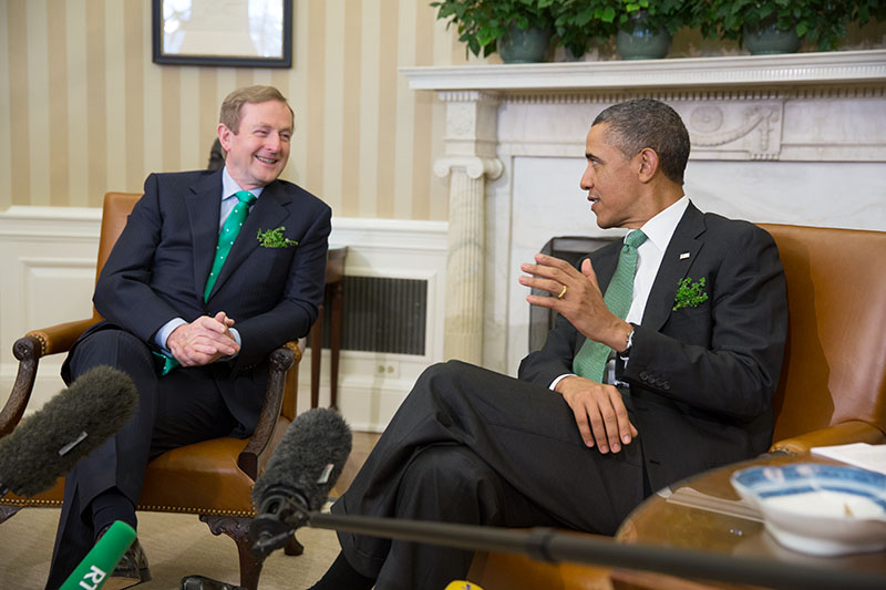 President Barack Obama welcomes Taoiseach Enda Kenny of Ireland and the Irish delegation to the Oval Office