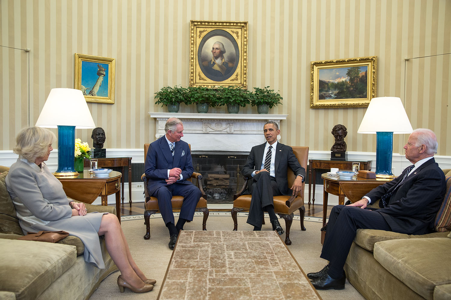 Prince Charles and the Duchess of Cornwall meet with President Obama and Vice President Biden in the Oval Office