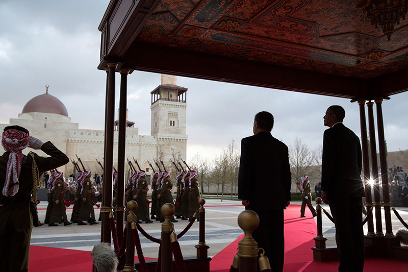 President Obama and King Abdullah II  at the official arrival ceremony at Al-Hummar Palace in Amman, Jordan, March 22, 2013