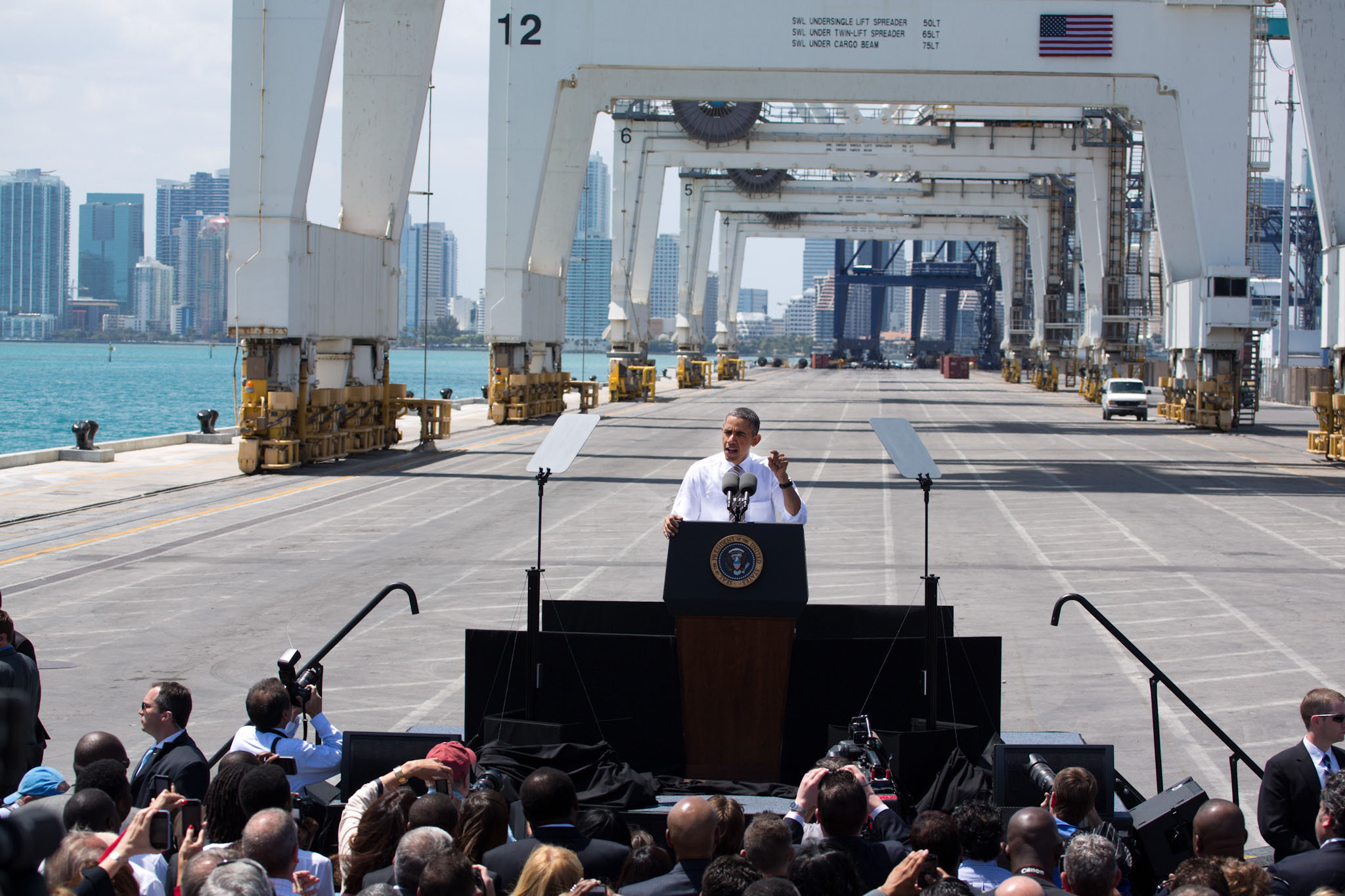 President Barack Obama delivers remarks on infrastructure, at the Port of Miami Tunnel