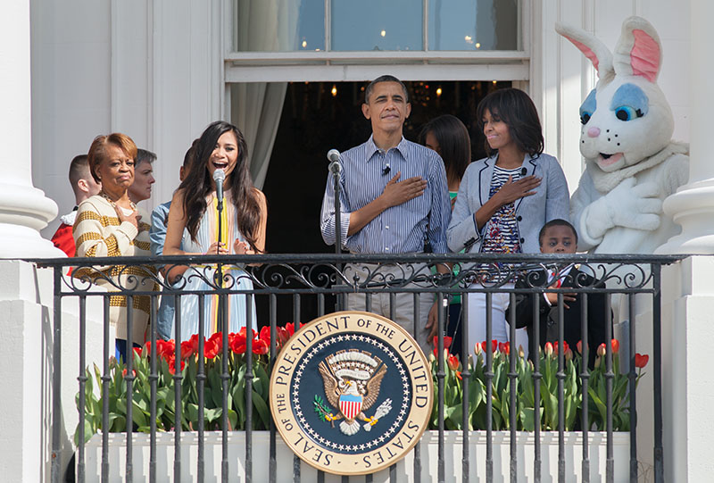 President Obama, First Lady Michelle Obama, Sasha and Malia, and Marian Robinson on the South Portico at the 2013 Easter Egg Roll, April 1, 2013