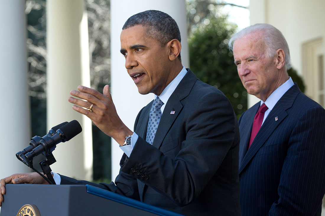 President Barack Obama, joined by Vice President Joe Biden, delivers a statement on the Affordable Care Act (ACA) in the Rose Garden of the White House, April 1, 2014.