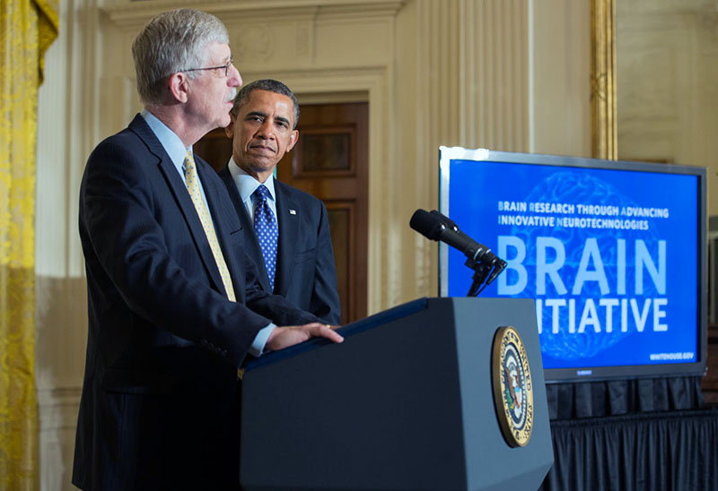 President Barack Obama is introduced by Dr. Francis Collins