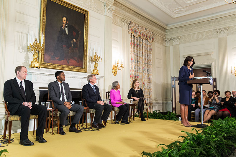 First Lady Michelle Obama delivers remarks during the