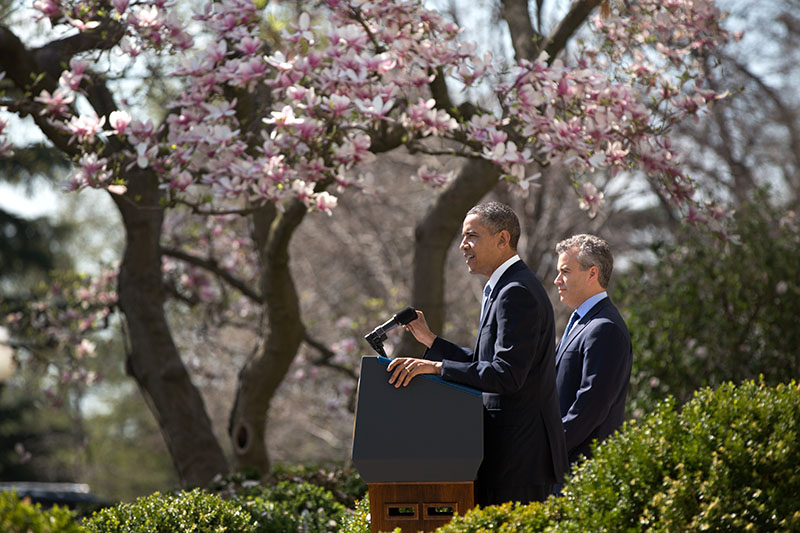 President Barack Obama delivers remarks on the FY 2014 budget in the Rose Garden, April 10, 2013