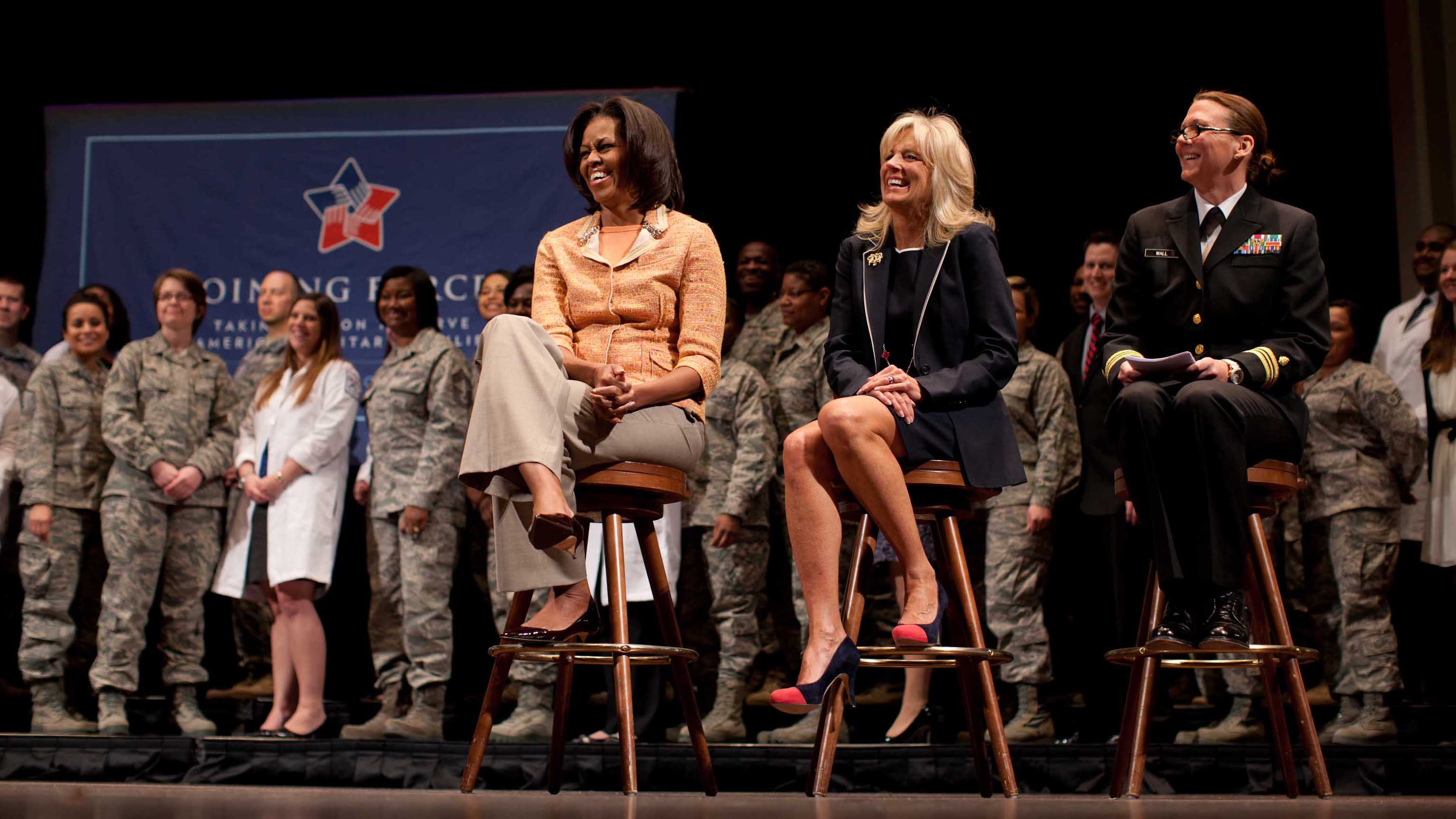 First Lady Michelle Obama and Dr. Jill Biden participate in a Joining Forces nurses event