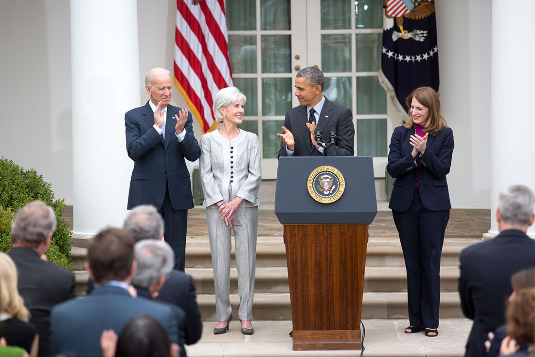 President Barack Obama, with Vice President Joe Biden, announces Sylvia Mathews Burwell as his nominee to succeed Health and Human Services Secretary Kathleen Sebeliu