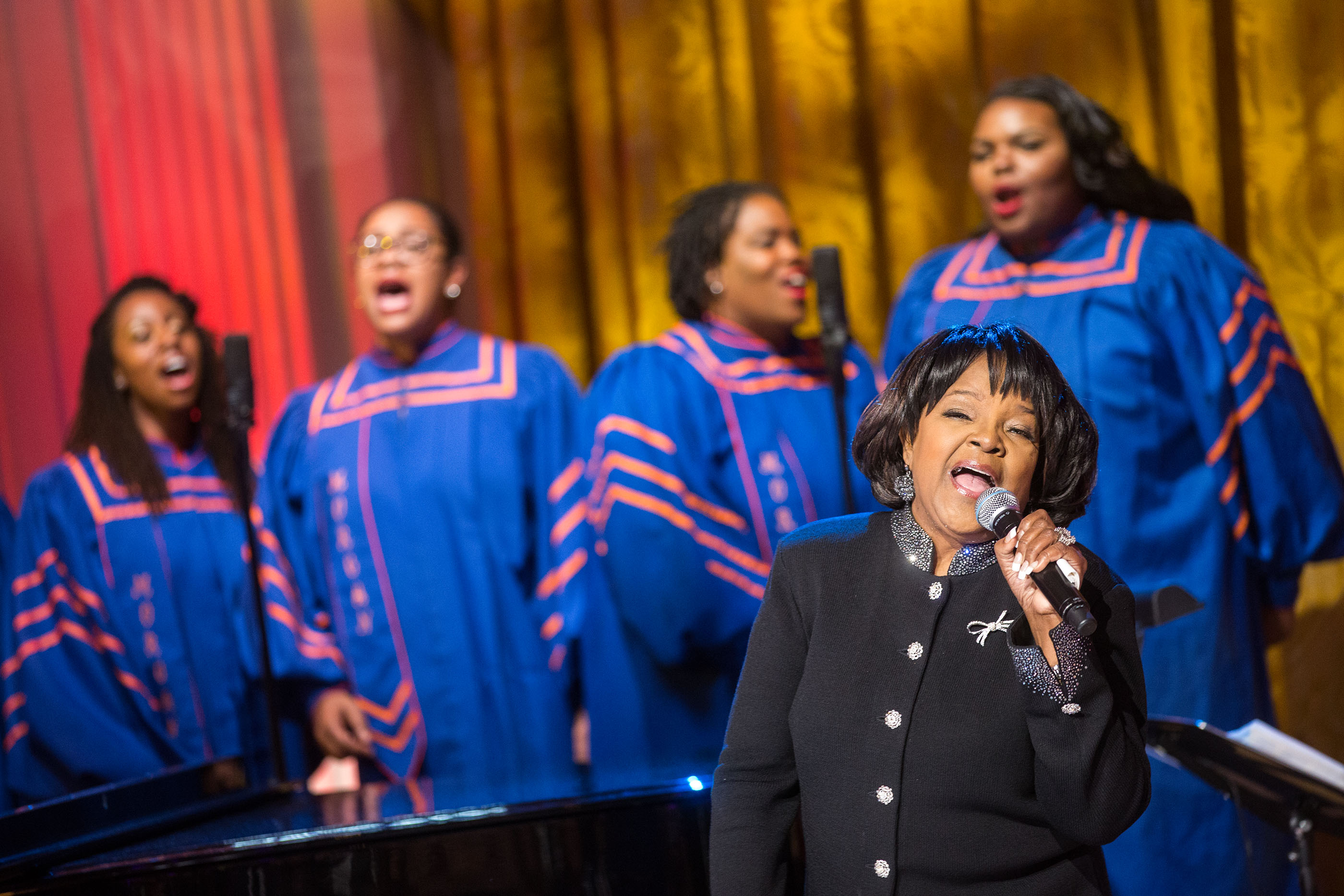 Shirley Caesar and the Morgan State University Choir perform during