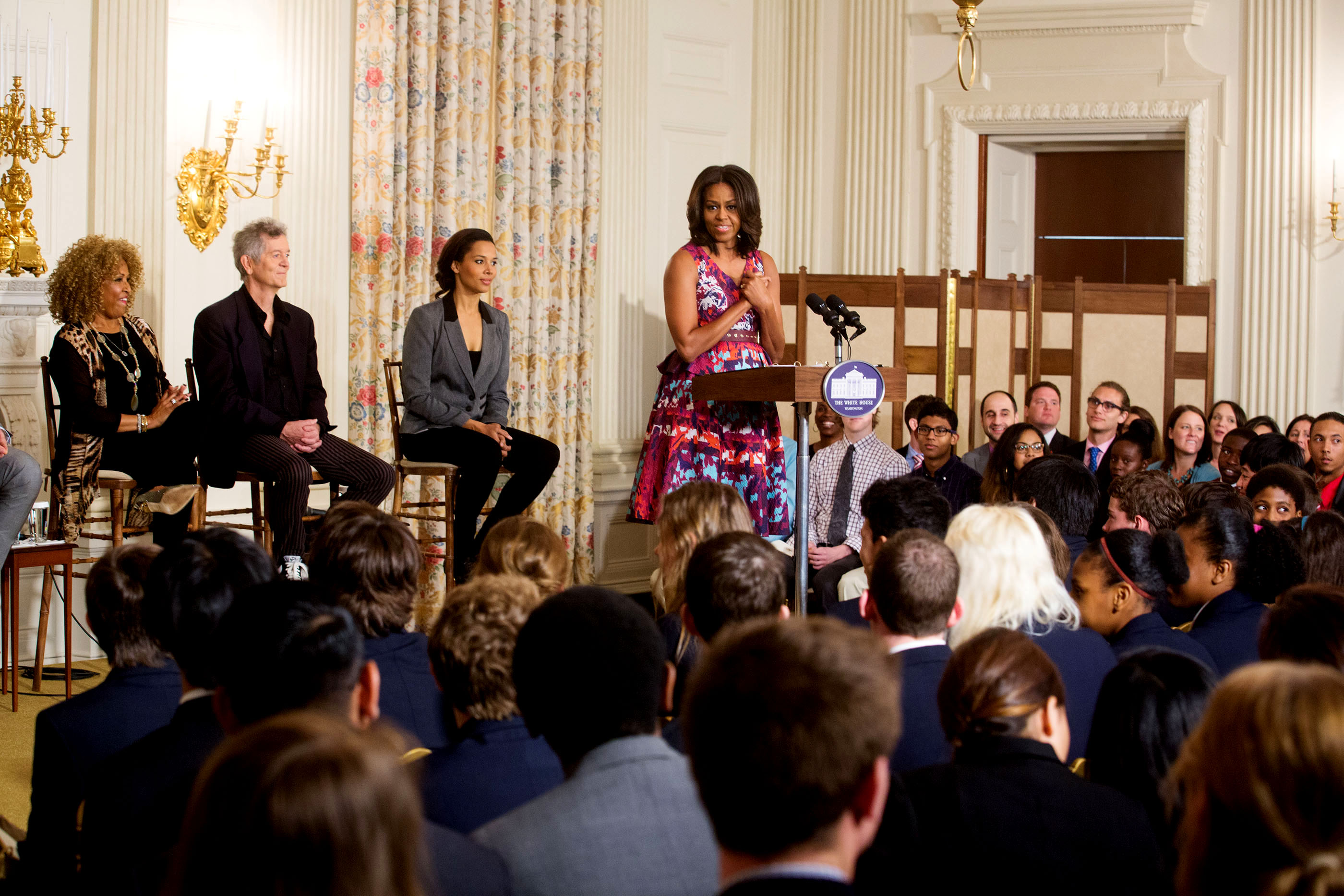 The First Lady delivers remarks to students at