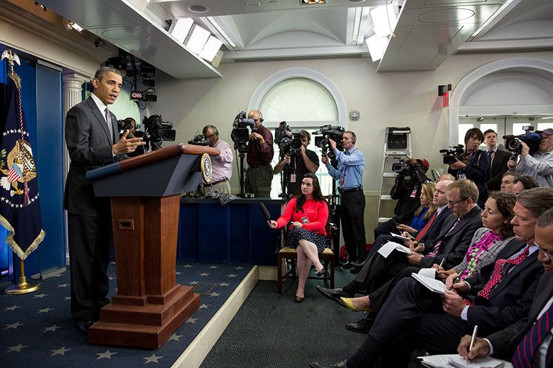President Obama Delivers a Statement on the bombs in Boston, April 16, 2013