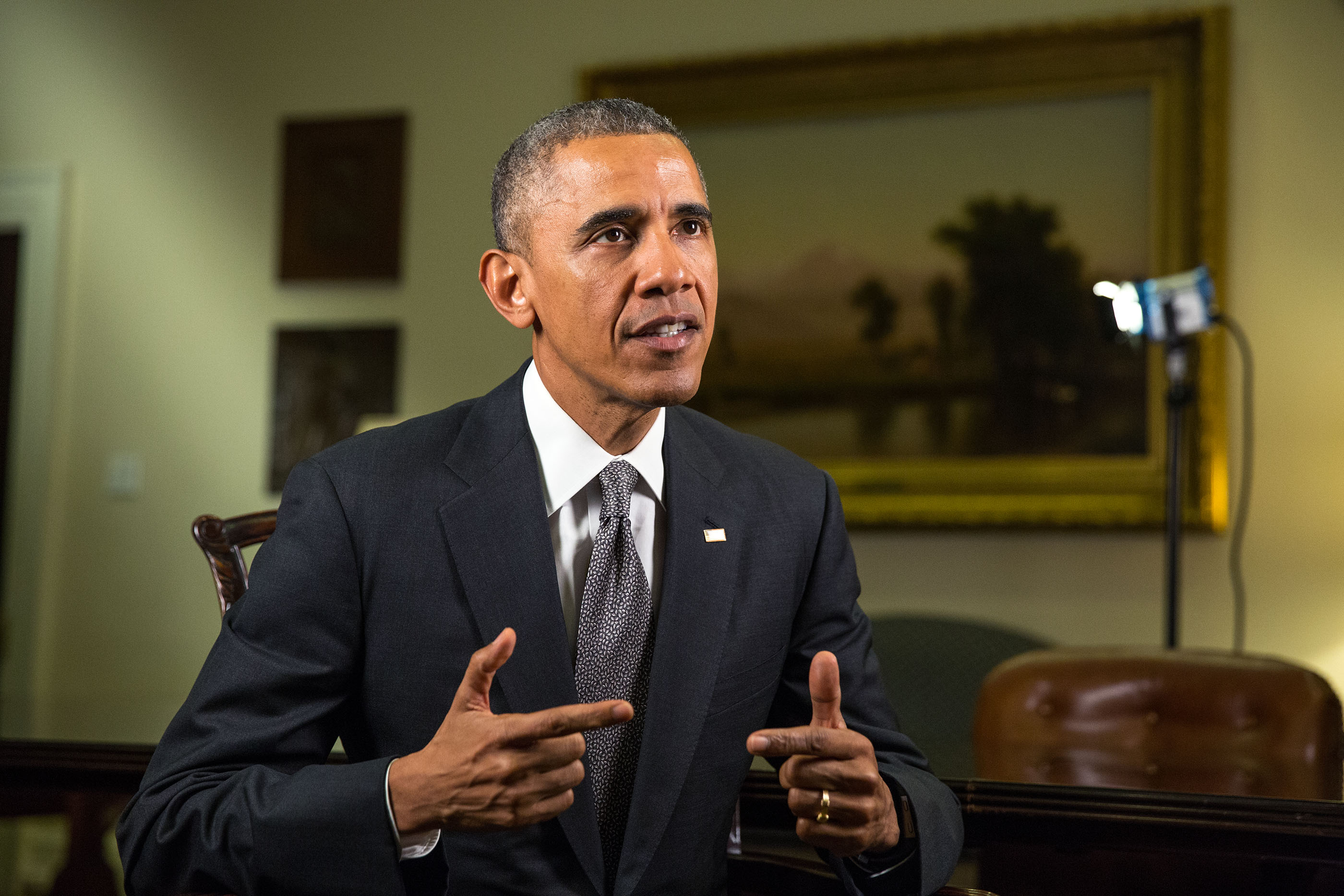 President Barack Obama tapes the Weekly Address in the Roosevelt Room of the White House, April 16, 2015
