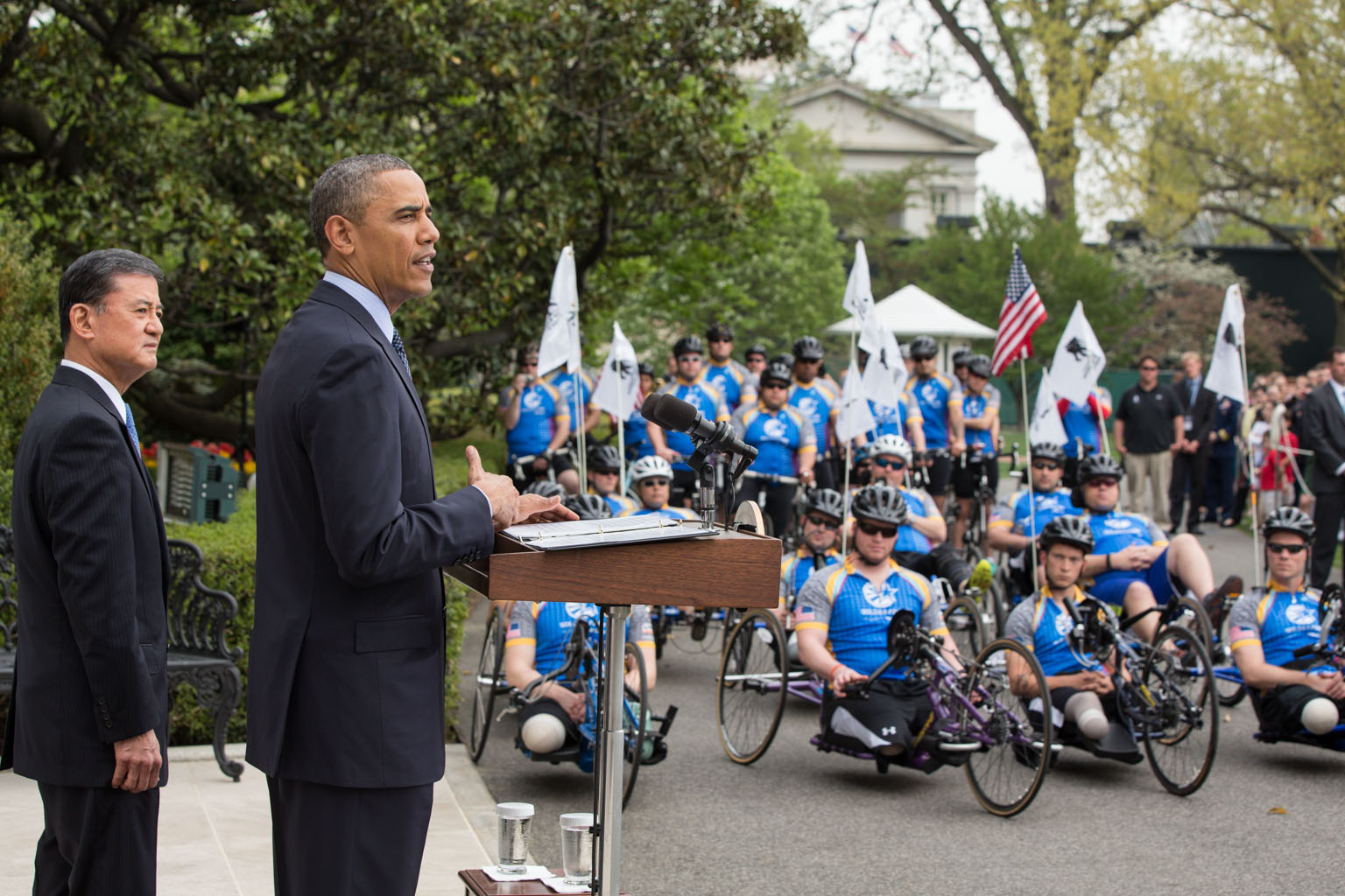 President Obama and  VA Secretary Shinseki welcome the Wounded Warrior Project's Soldier Ride to the South Lawn, April 17, 2013