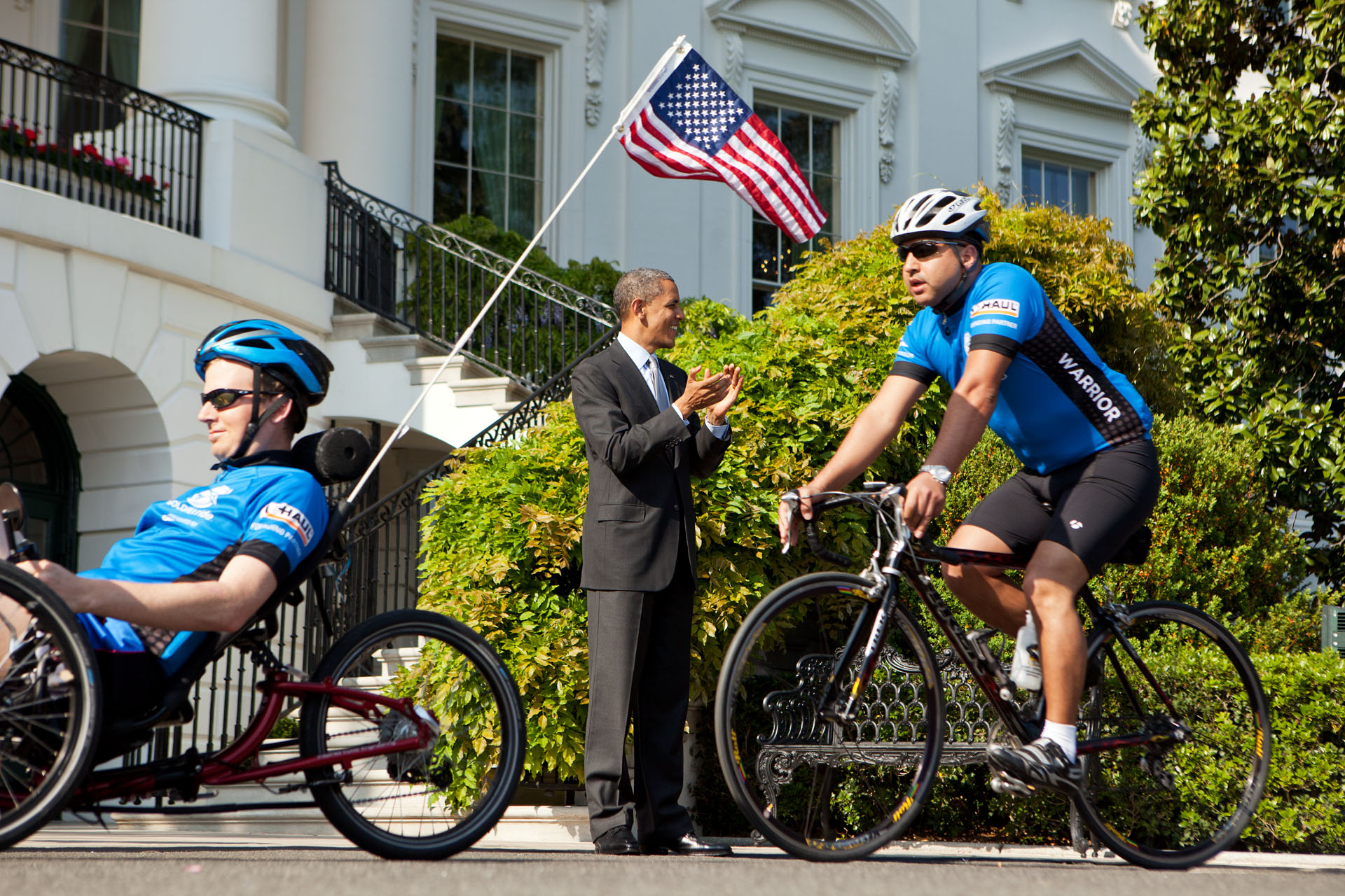 President Barack Obama cheers for the Wounded Warrior Soldier Ride
