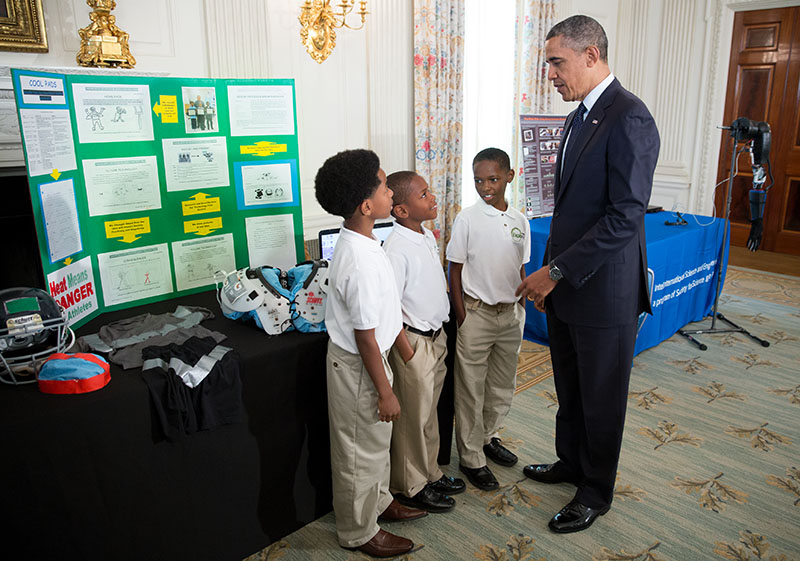 President Obama with Evan Jackson, Alec Jackson, and Caleb Robinson at the White House Science Fair, April 22, 2013