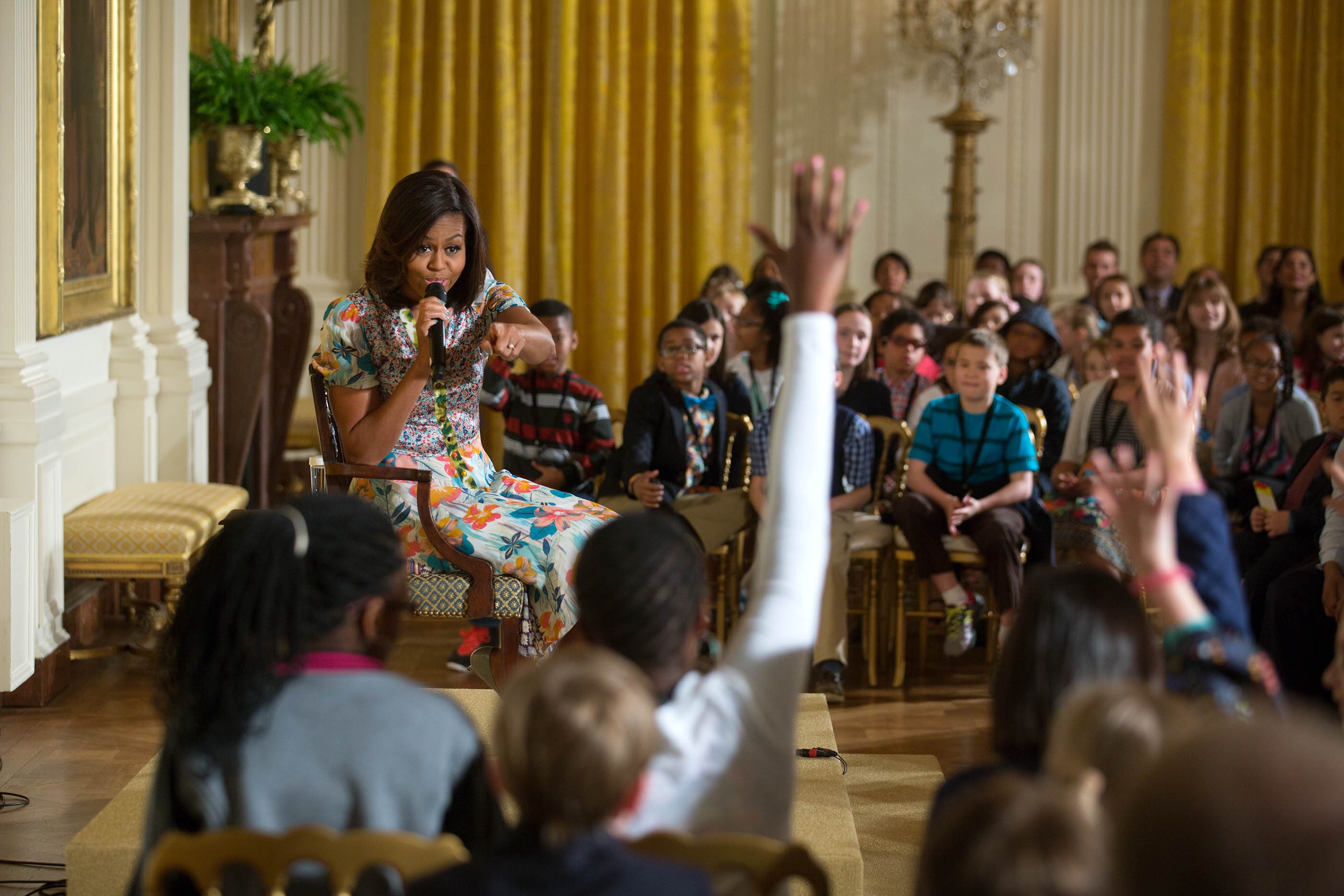 First Lady Michelle Obama takes questions during the annual