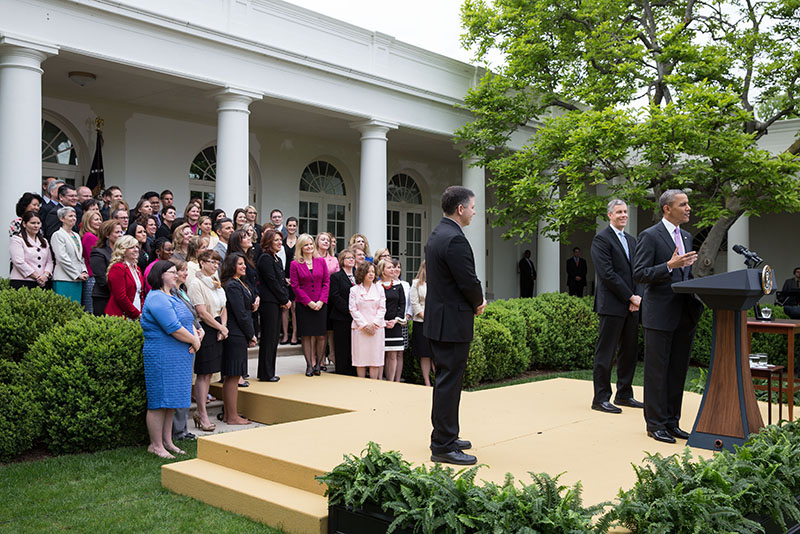 President Barack Obama, with Education Secretary Arne Duncan, honors 2013 National Teacher of the Year Jeff Charbonneau
