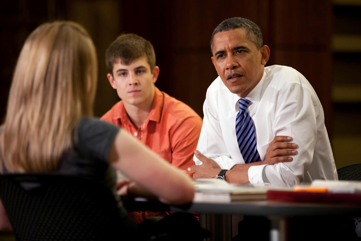 President Barack Obama Listens to Senior Marissa Boles During a Roundtable Discussion