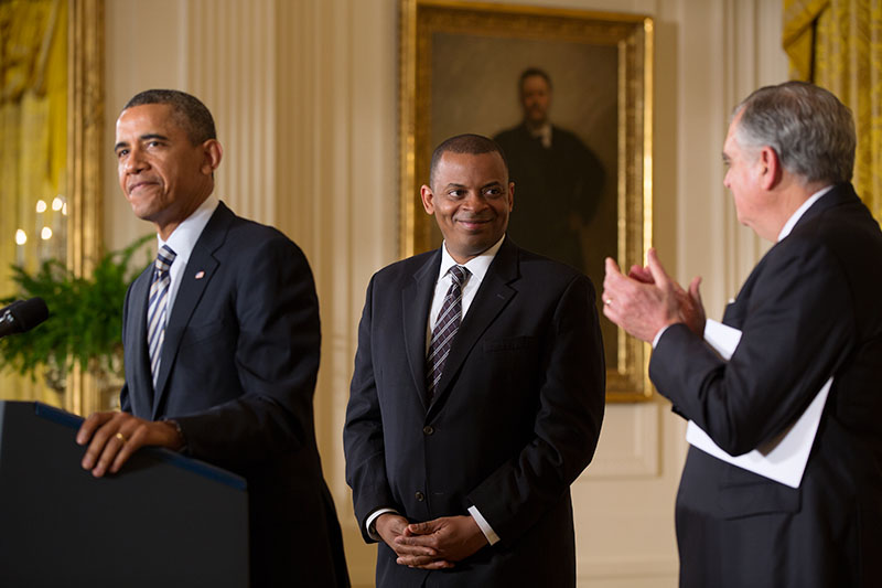 President Barack Obama announces Mayor Anthony Foxx, of Charlotte, N.C., as his nominee for Transportation Secretary