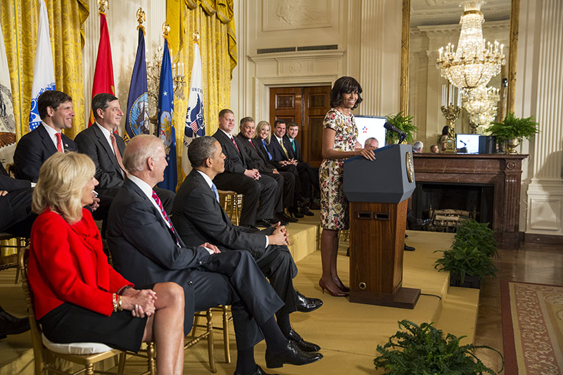 First Lady Michelle Obama Makes a Veterans' Employment Announcement in the East Room, April 30, 2013