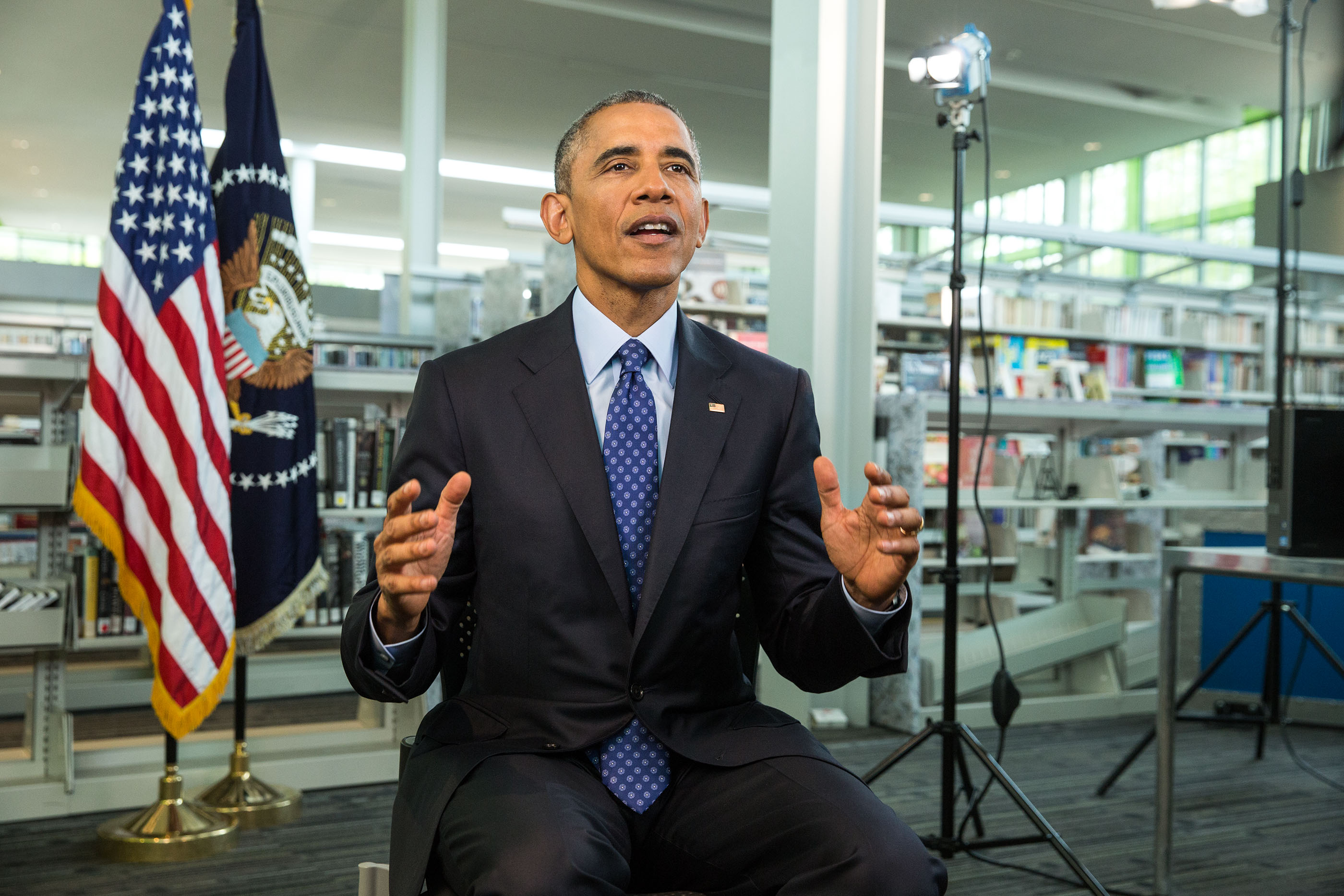 President Barack Obama tapes the Weekly Address at the Anacostia Neighborhood Library in Washington, D.C., April 30, 2015