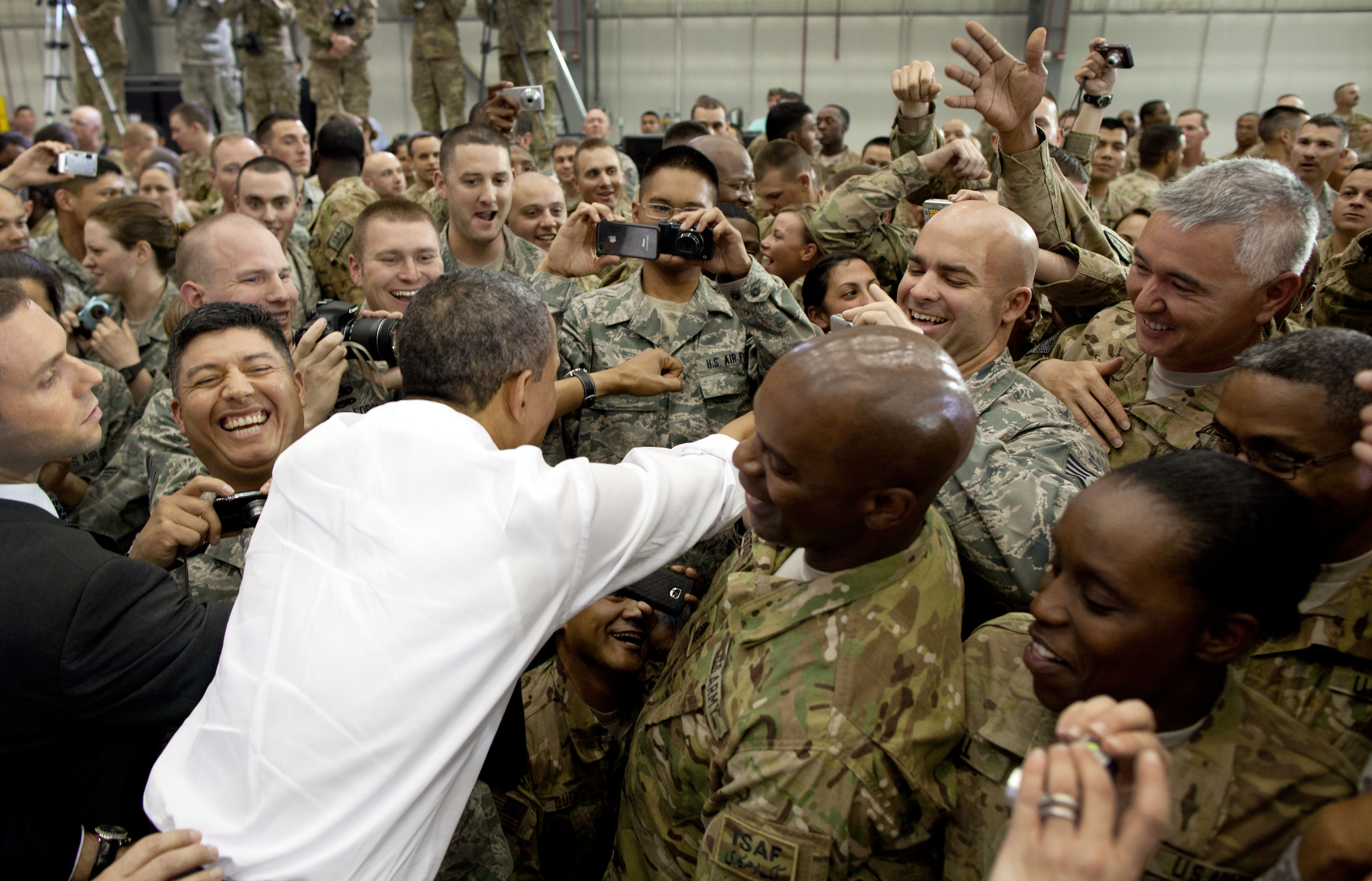 President Barack Obama greets U.S. troops at Bagram Air Field after a surprise visit to Afghanistan, May 1, 2012.