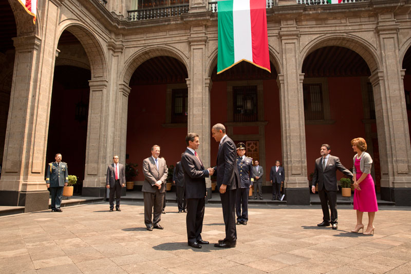 President Barack Obama greets President Peña Nieto of Mexico at the Palacio Nacional