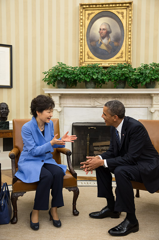 President Barack Obama holds a bilateral meeting with President Park Geun-hye
