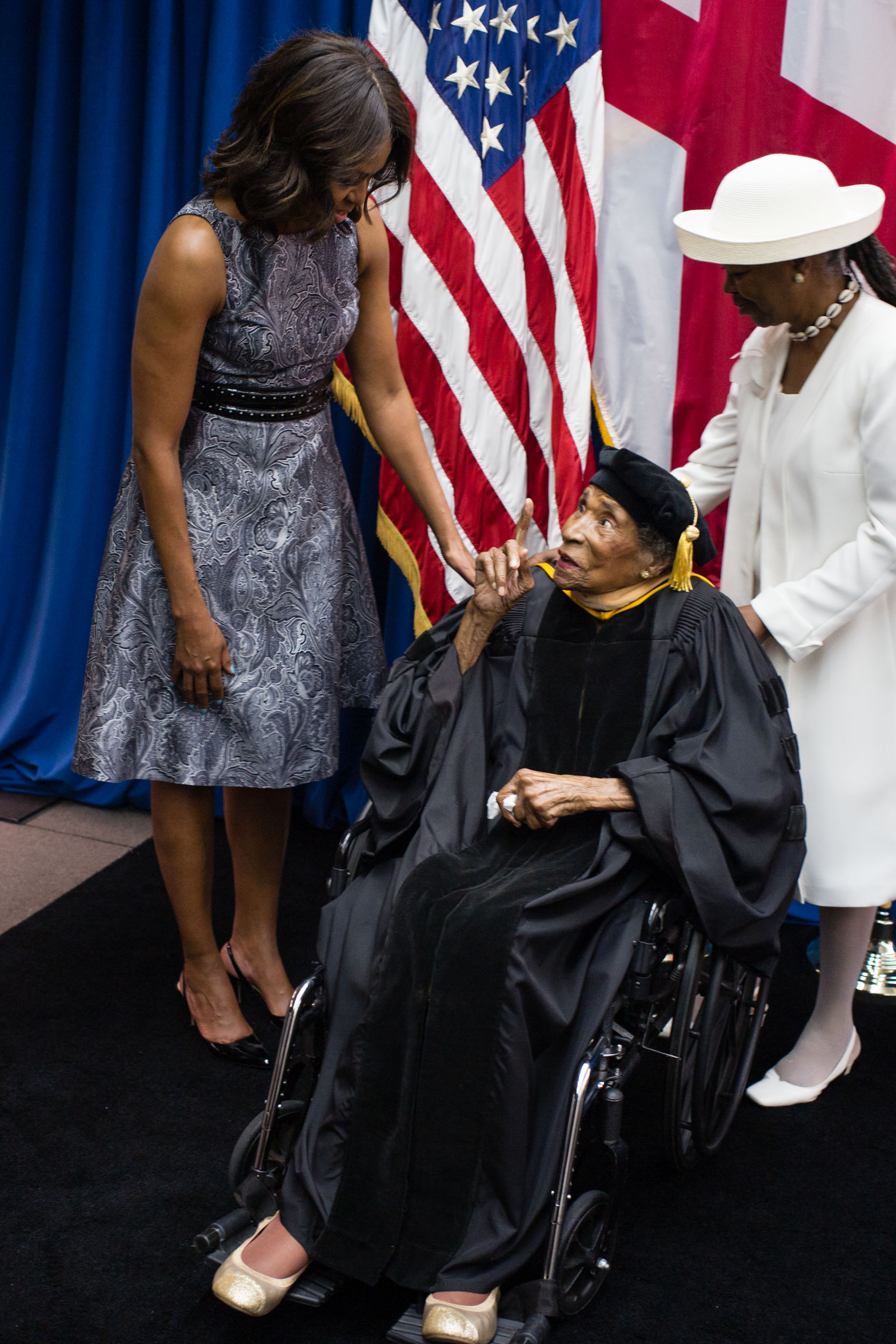 First Lady Michelle Obama greets Tuskegee alum and Selma civil rights leader, Dr. Amelia Boynton Robinson, age 103 and Latifya Mohammed