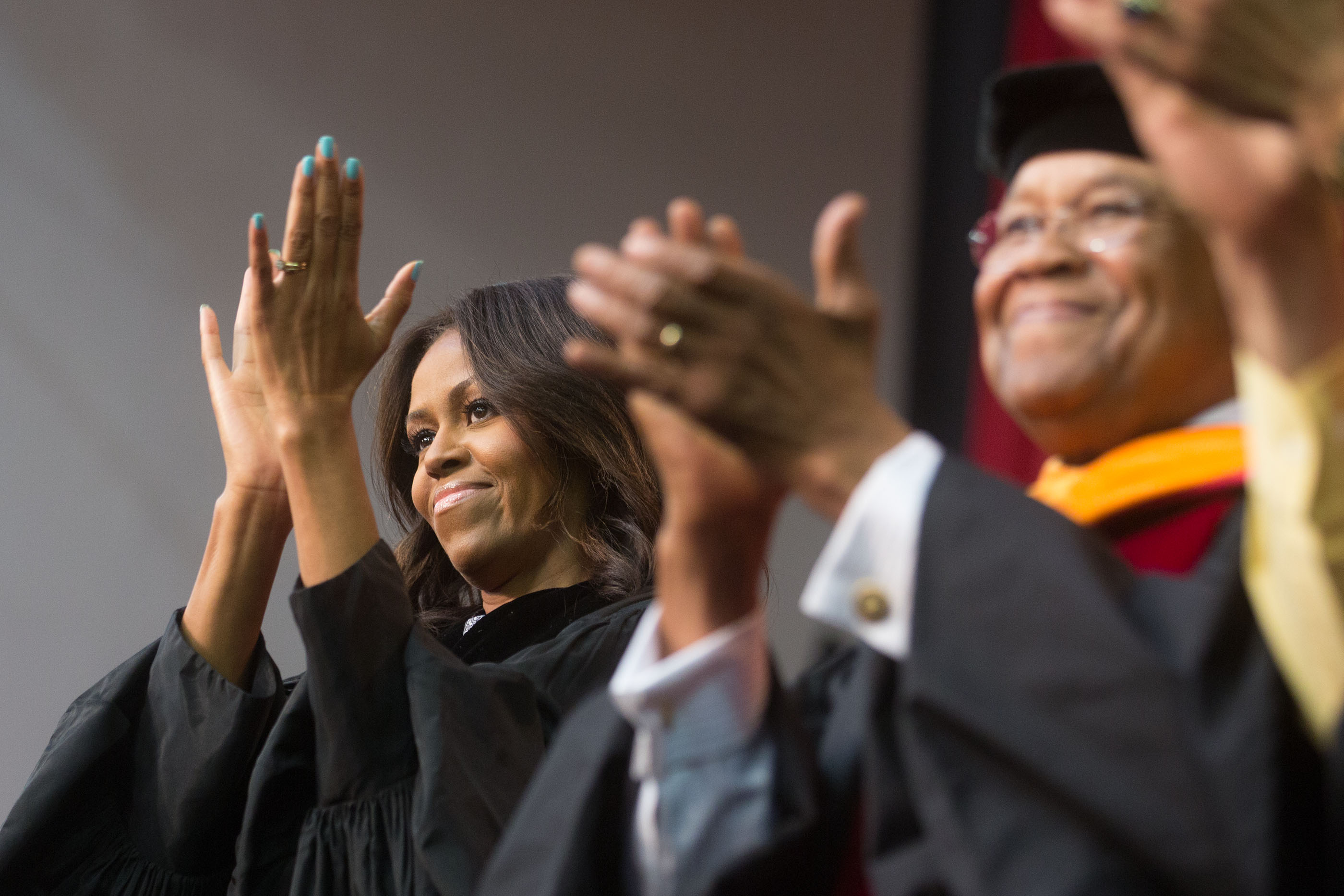 First Lady Michelle Obama participates in the Tuskegee University class of 2015 commencement ceremony