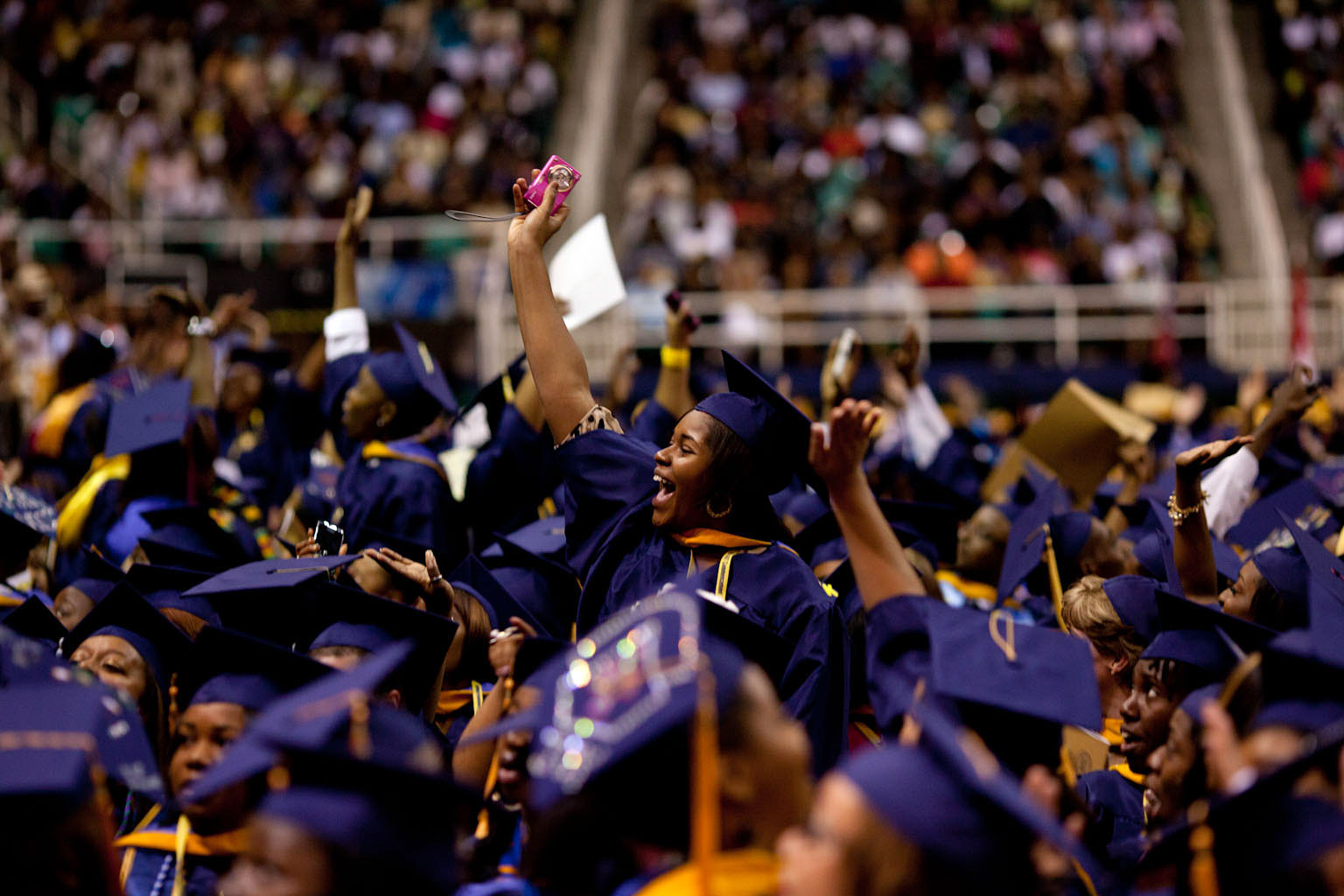 North Carolina A&T Students React as First Lady Michele Obama Delivers the Commencement Address
