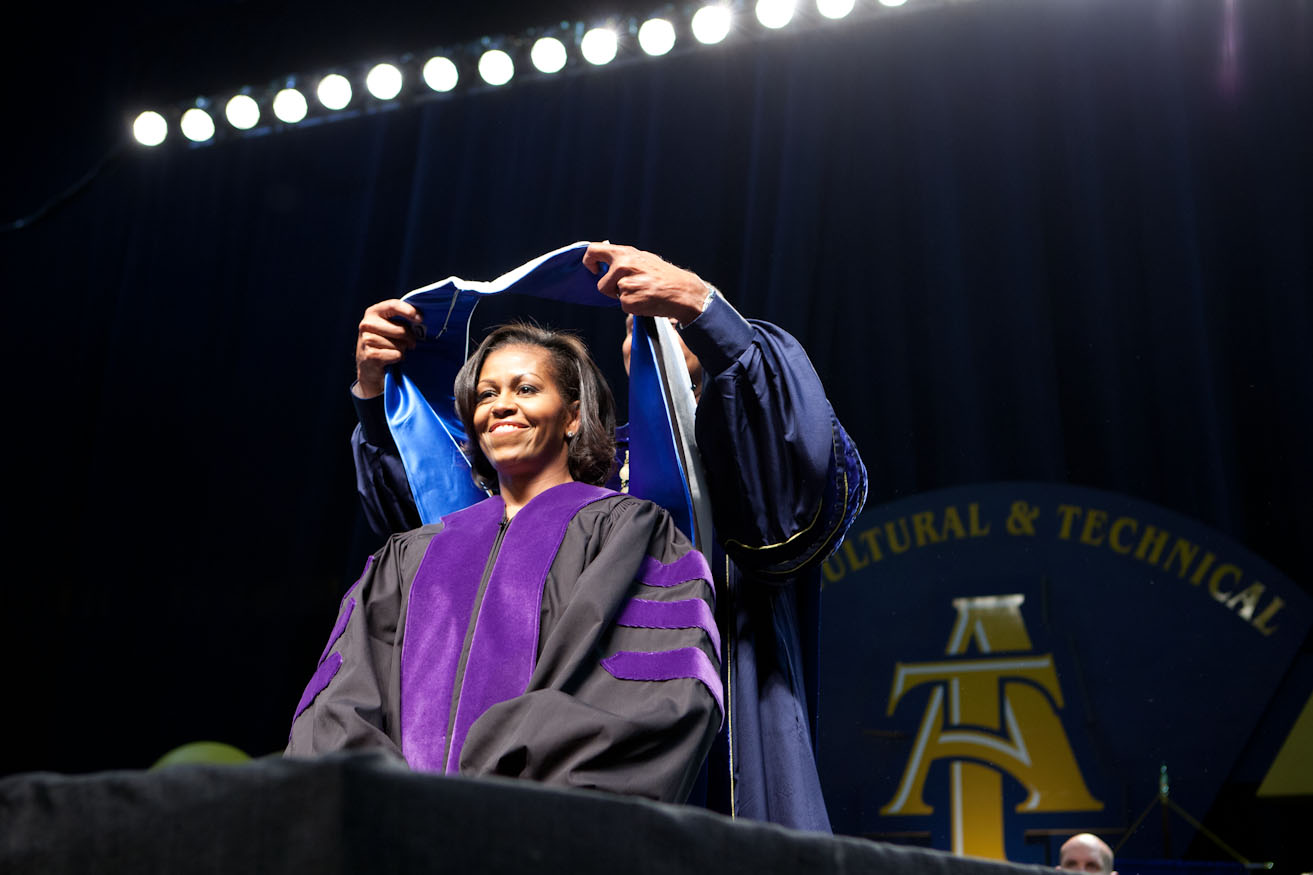 First Lady Michele Obama at the North Carolina Agriculture & Technology Commencement Ceremony