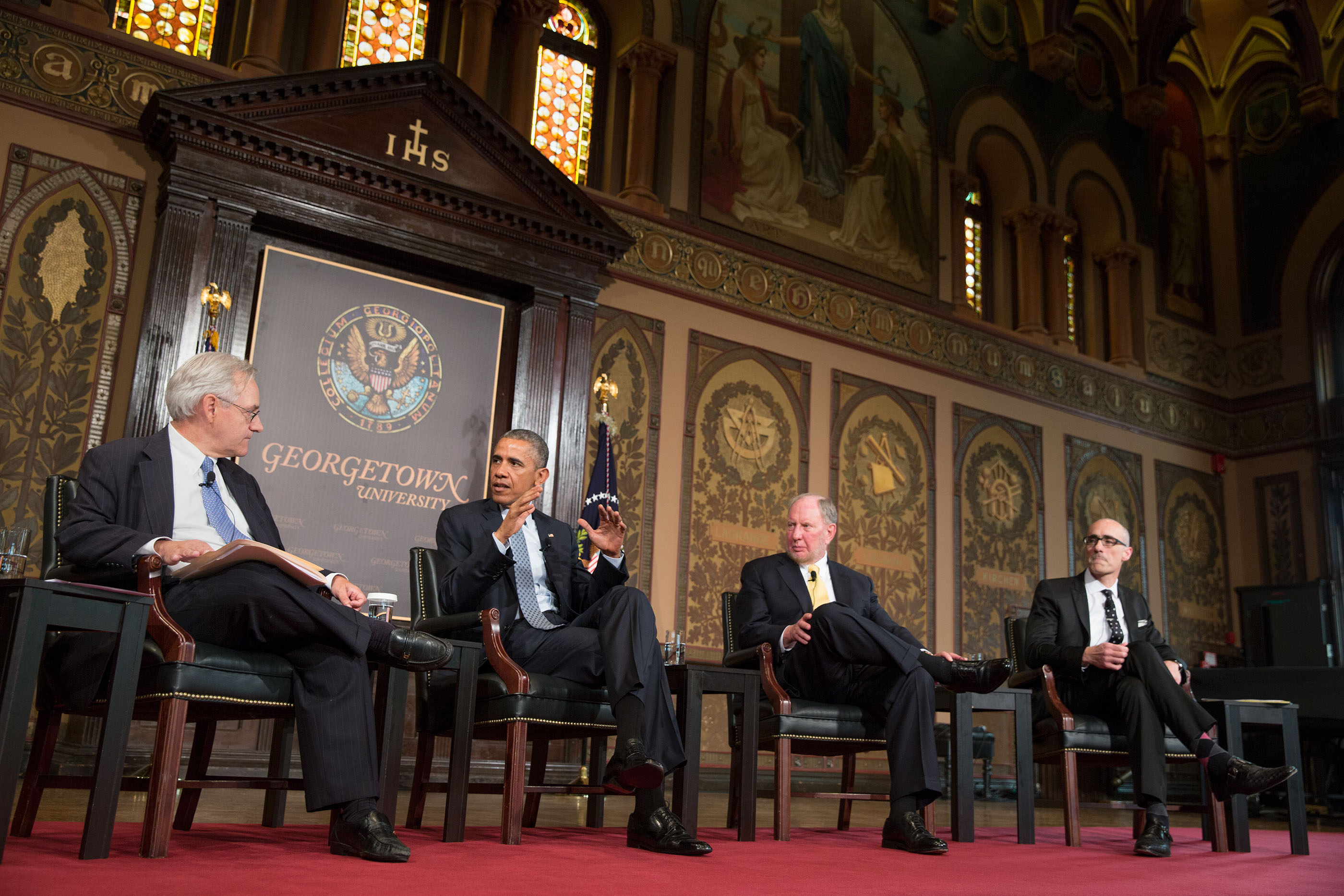 President Barack Obama participates in a discussion about poverty during the Catholic-Evangelical Leadership Summit on Overcoming Poverty