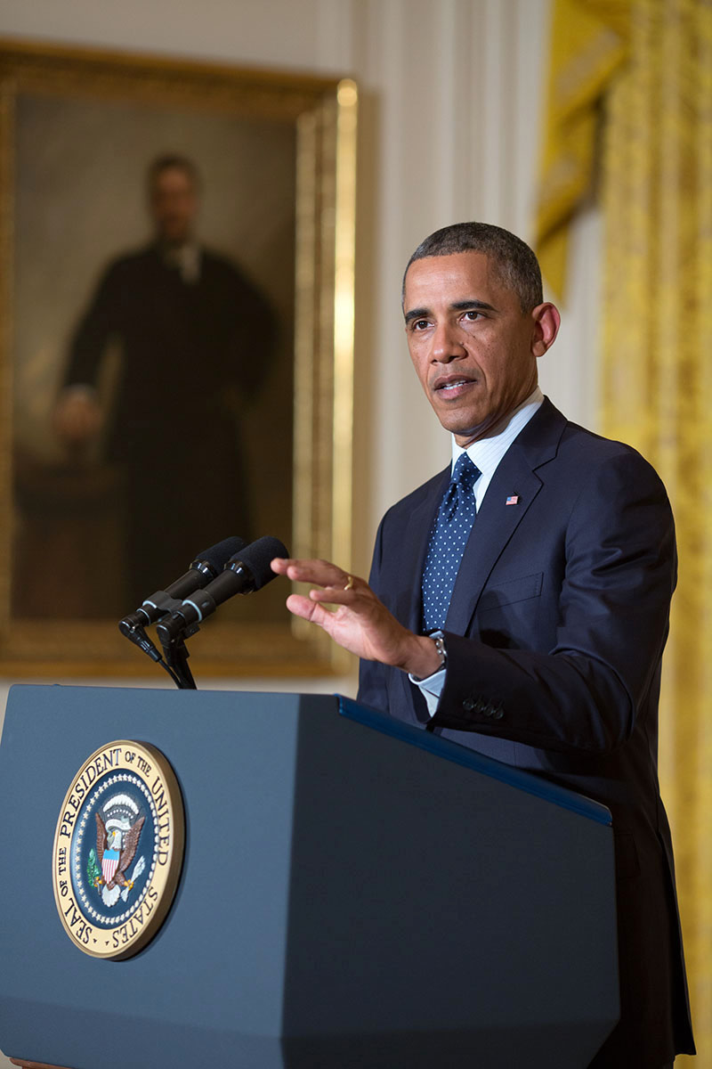 President Barack Obama delivers a statement on the situation regarding the Internal Revenue Service