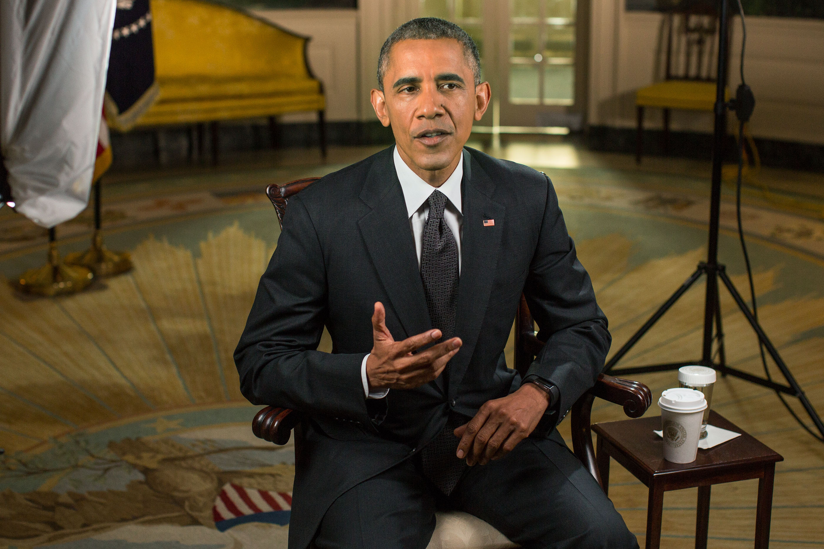 President Barack Obama tapes the Weekly Address in the Diplomatic Reception Room of the White House, May 15, 2015.