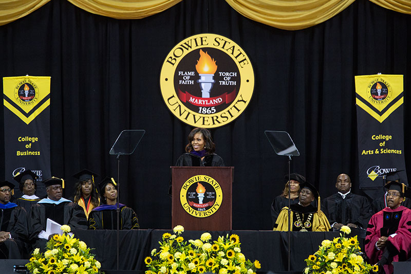 First Lady Michelle Obama delivers remarks during the Bowie State University commencement