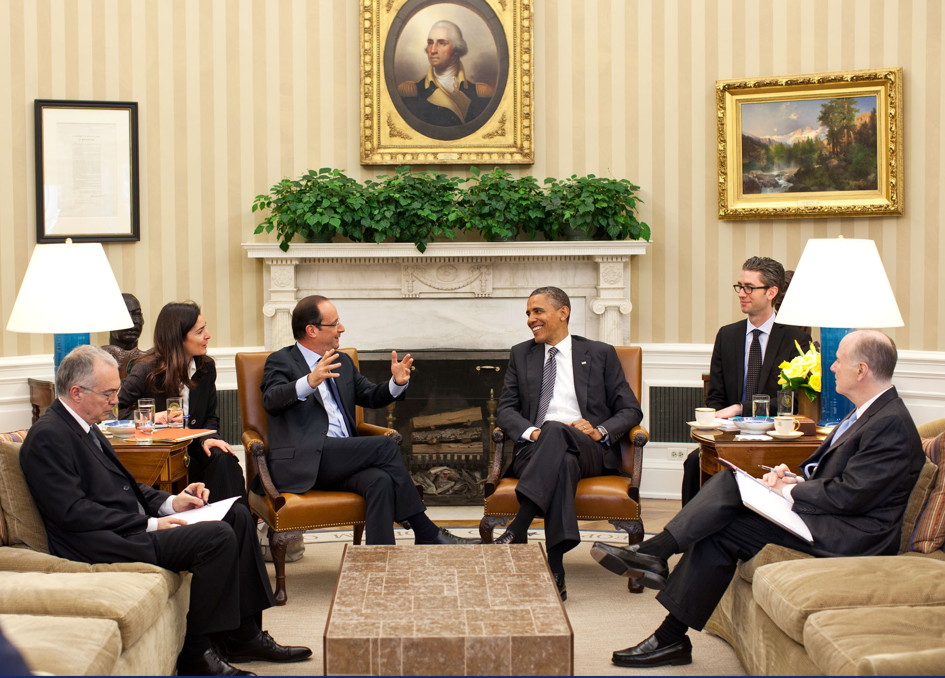 President Obama with President François Hollande of France in the Oval Office, May 18, 2012