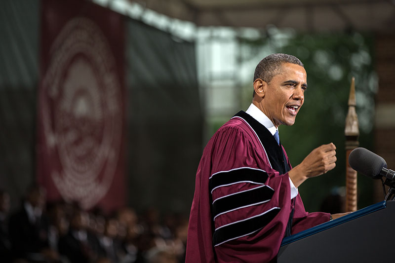 President Barack Obama delivers remarks during the commencement ceremony at Morehouse College