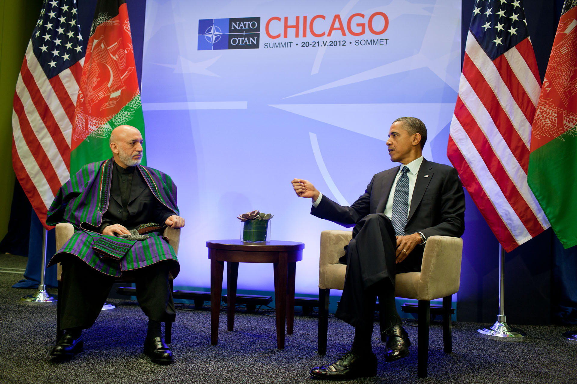 President Barack Obama and President Hamid Karzai of Afghanistan deliver statements after a bilateral meeting